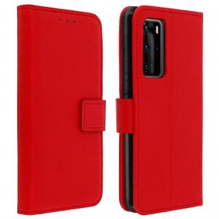Huawei P40 Flip-Cover mit Kartenfächern & Standfunktion - Rot