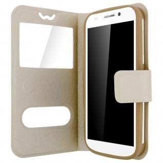 Flip-Schutzhülle Smartphones: max. 127 x 132 x 66mm, 2 Sichtfenster - Gold