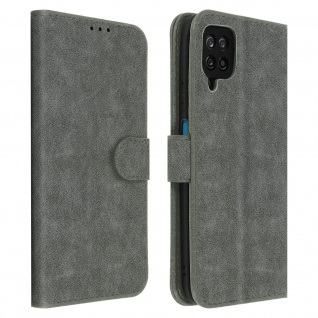 Flip Cover Geldbörse, Etui Kunstleder für Samsung Galaxy A12 ? Grau
