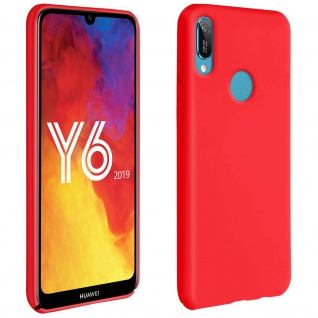 Halbsteife Silikon Handyhülle Huawei Y6 2019, Soft Touch - Rot
