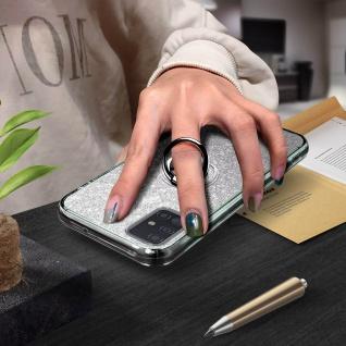 Glitter Silikonhülle mit Ring Halterung für Samsung Galaxy A51 - Silber - Vorschau 4