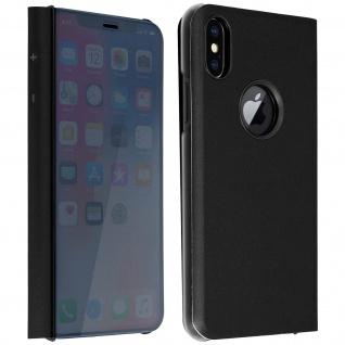 Apple iPhone X ultradünnes Flip-Cover mit Spiegeleffekt & Standfunktion- Schwarz