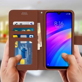 Xiaomi Redmi 7 Flip-Cover mit Kartenfächern & Standfunktion - Braun - Vorschau 3