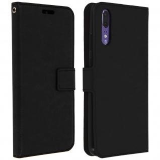 Flip Cover Stand Case Brieftasche & Standfunktion für Huawei P20 - Schwarz