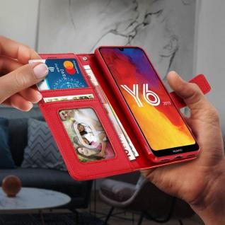 Huawei Y6 2019 Flip-Cover mit Kartenfächern & Standfunktion ? Rot - Vorschau 5