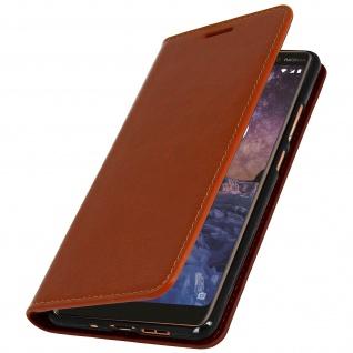 Nokia 7 Plus Flip-Cover aus Echtleder, Klappetui im Brieftaschenstil - Kupfer