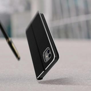 Apple iPhone 11 Klappetui, Cover mit Carbon Design & Ständer ? Schwarz - Vorschau 5