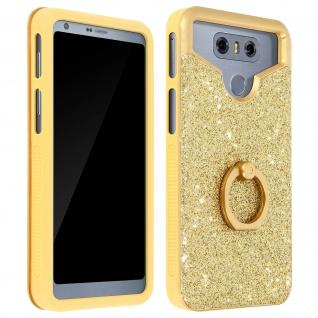 Glitter Handyhülle mit Ring Halterung für 4.7 - 5.0 Zoll Smartphones - Gold