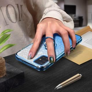 Glitter Silikonhülle mit Ring Halterung für Samsung Galaxy A51 - Blau - Vorschau 4