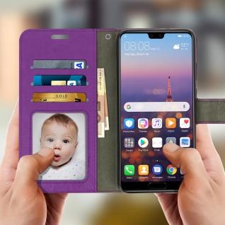 Flip Cover Stand Case Brieftasche & Standfunktion für Huawei P20 - Violett - Vorschau 2