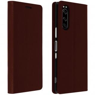 Business Leder Cover, Schutzhülle mit Geldbörse Sony Xperia 5 â€? Braun
