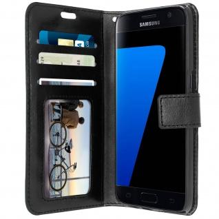 Flip-Schutzhülle im Brieftaschenstil für Galaxy S7 - Schwarz + Standfunktion