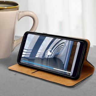 Samsung Galaxy A8 2018 Flip Cover Kartenfach mit Magnetverschluss - Schwarz - Vorschau 1