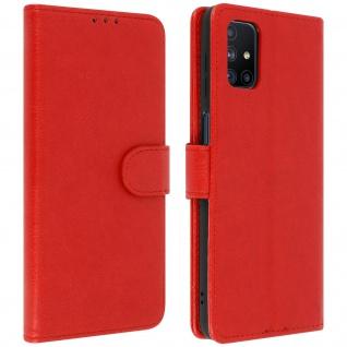 Flip Cover Geldbörse, Etui Kunstleder für Samsung Galaxy M51 ? Rot