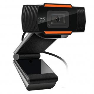 Full HD 1080P USB Webcam mit Mikrofon, LinQ HD1080 ? Schwarz
