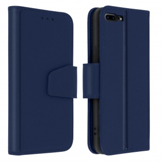 Premium Rindsleder Klapphülle für Apple iPhone 7 Plus / 8 Plus - Dunkelblau