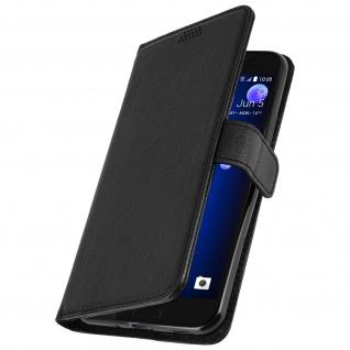 Flip-Schutzhülle im Brieftaschenstil mit Standfunktion für HTC U11 - Schwarz