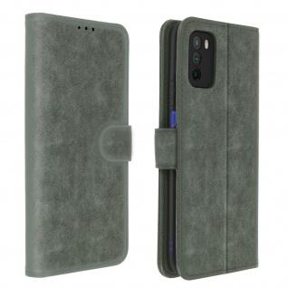 Flip Cover Geldbörse, Etui Kunstleder für Xiaomi Poco M3 ? Grau