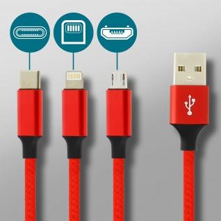 Moxie 3in1 Ladekabel mit Lightning USB-C und Micro USB Anschluss 3A - Rot - Vorschau 5