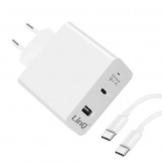 LinQ weißes Ladegerät mit USB-C 18W PD Anschluss und Quick Charge USB Anschluss