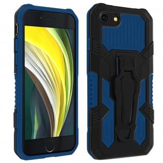 Stoßfeste Handyhülle iPhone SE 2020 / 8 / 7, Gürtelclip und Ständer - Blau