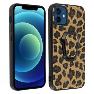 Apple iPhone 12 Mini Schutzhülle mit Leopard Muster und Ring-Halterung ? Braun