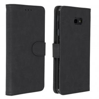 Flip Cover Geldbörse, Klappetui Kunstleder für Samsung Galaxy J4 Plus ? Schwarz