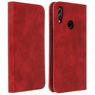 Flip Cover Geldbörse, Kunstleder Klappetui für Huawei P Smart 2019 - Rot