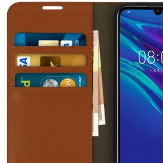 Business Leder Cover, Schutzhülle mit Geldbörse Huawei Y6 2019 - Hellbraun - Vorschau 4
