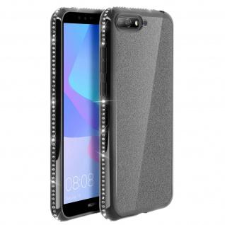 Schutzhülle, Glittery Case für Huawei Y6 2018, shiny & girly Hülle - Schwarz