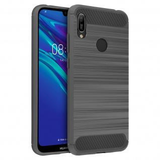 Huawei Y6 2019 Silikon Schutzhülle mit Carbon/Aluminium Look - Grau