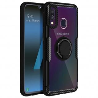 Stoßfeste Handyhülle mit Ring Halterung für Samsung Galaxy A40 - Schwarz