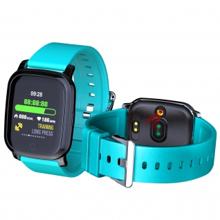 Smartwatch mit Körpertemperaturmessung, Silikonarmband - Türkisblau
