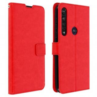 Flip Stand Case Brieftasche & Standfunktion für Moto G8 Plus - Rot