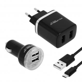 Pack: KFZ- (2.1A) + Wand-Ladegerät (2.1A) + Micro-USB Ladekabel 1m - Akashi