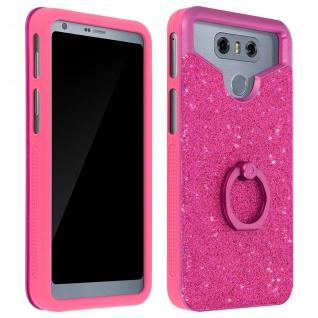 Glitter Handyhülle mit Ring Halterung für 4.7 - 5.0'' Smartphones - Fuchsienrot
