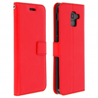 Flip Cover Stand Case Brieftasche & Standfunktion Samsung Galaxy J6 - Rot