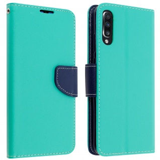 Fancy Style Cover Samsung Galaxy A70, Fach und Standfunktion - Blaugrün