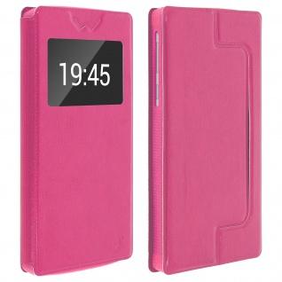 Universal Klappetui, Hülle mit Sichtfenster für Smartphones Größe XXL - Rosa