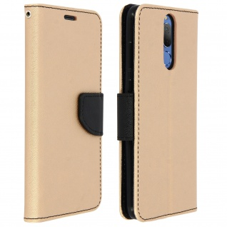 Fancy Style Flip-Cover, Klappetui Huawei Mate 10 Lite + Schlaufe - Schwarz/Gold