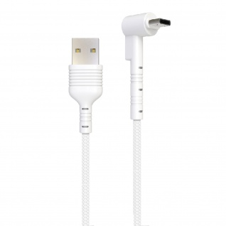 USB / USB-C Kabel mit abgewinkeltem Stecker 1m Inkax CK71 ? Weiß - Vorschau 2