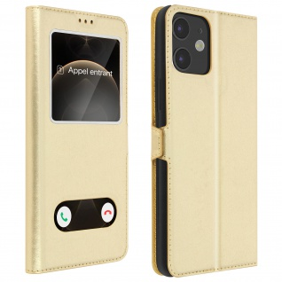 Apple iPhone 12 Mini Flip Cover Doppelfenster & Standfunktion - Gold