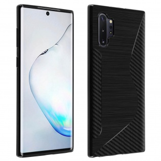 Backcover Galaxy Note 10 Plus S-Line Silikonhülle, Carbon Optik - Schwarz