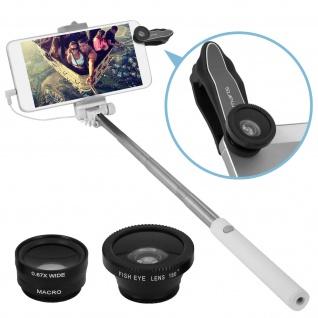 Akashi 4x Kamera-Objektiv-Set + Selfie Stange für Smartphones und Tablets - Weiß