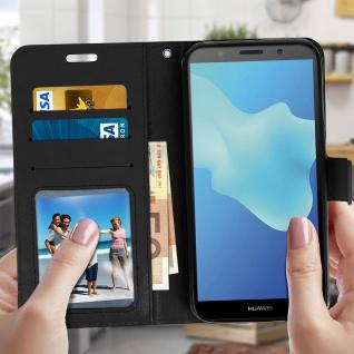 Flip Stand Cover Brieftasche & Standfunktion Huawei Y5 2018/Honor 7S - Schwarz - Vorschau 3