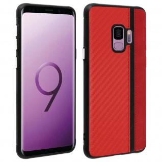 Hybrid Hülle, stoßfeste Schutzhülle Lederoptik für Samsung Galaxy S9 - Rot