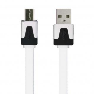 Micro-USB/ USB 3m Flachkabel - Aufladen / Synchronisierung - Weiß - Vorschau 2