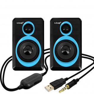 LinQ A5000 3, 5 mm Desktop-Lautsprechersystem 3W x 2 � Schwarz / Blau