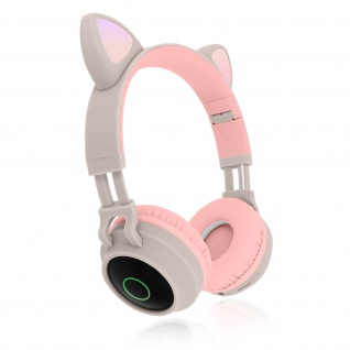 Katzenohren kabellose Bluetooth Kopfhörer, Kitty Headset ? Beigegrau - Vorschau 2