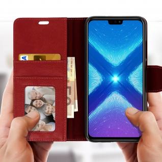 Flip Stand Cover Brieftasche & Standfunktion Huawei Honor 8X - Weinrot - Vorschau 3